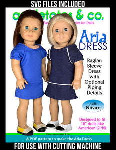 Aria Dress 18 Inch Doll Sewing Pattern - SVG Files Included