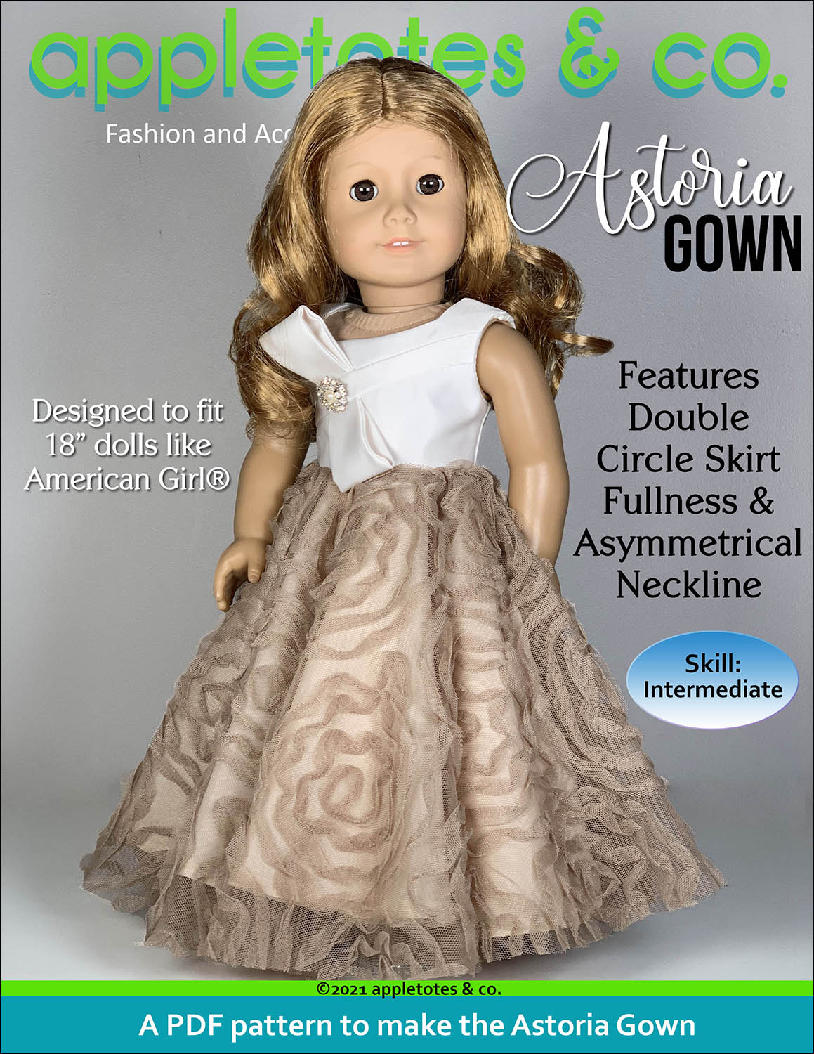 Astoria Gown 18 Inch Doll Sewing Pattern