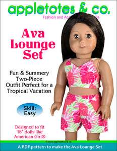 Ava Lounge Set Sewing Pattern for 18 Inch Dolls