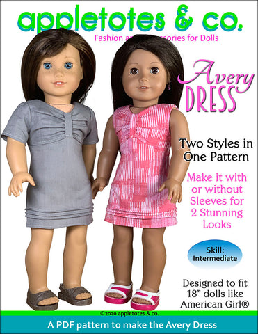 Avery Dress Sewing Pattern for 18 Inch Dolls