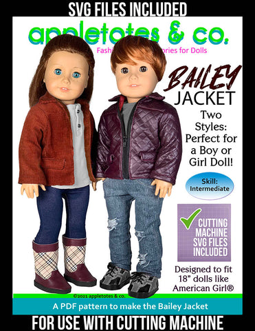 Bailey Jacket 18 Inch Doll Sewing Pattern - SVG Files Included