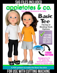 Basic Tee 14 Inch Doll Sewing Pattern - SVG Files Included