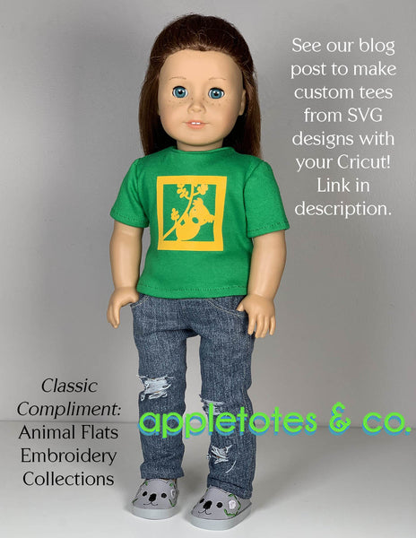 Basic Tee 18 Inch Doll Sewing Pattern - SVG Files Included
