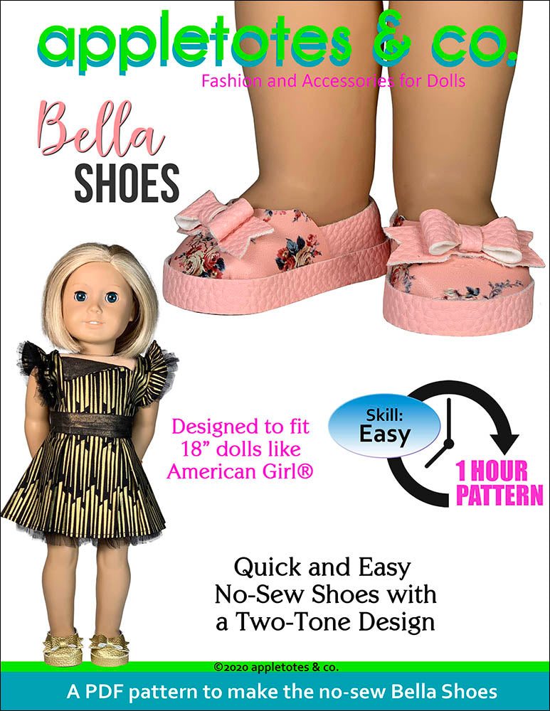 Bella Shoes 18 Inch Doll No Sew Pattern