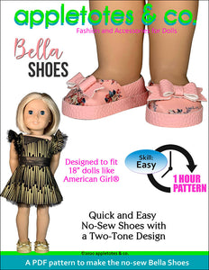 No-Sew Bella Shoes 18 Inch Doll Pattern