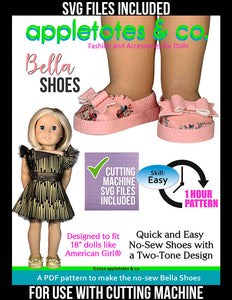 No-Sew Bella Shoes 18 Inch Doll Pattern - SVG Files Included