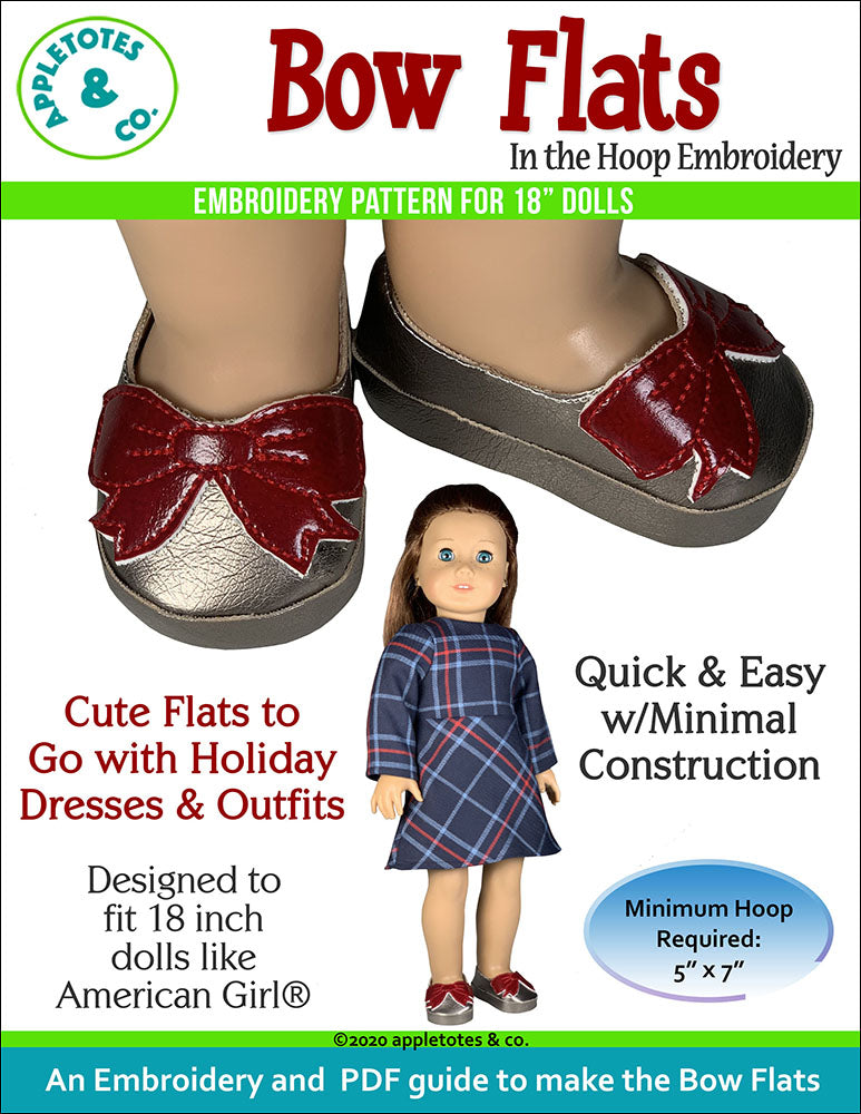 Bow Flats ITH Embroidery Pattern for 18 Inch Dolls