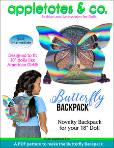 Butterfly Backpack Sewing Pattern for 18 Inch Dolls