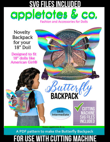 Butterfly Backpack Sewing Pattern for 18 Inch Dolls - SVG Files Included
