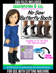"Try the No-Sew Butterfly Boots 18"" Doll Pattern w/SVG Files - $3 Off Limited Time"