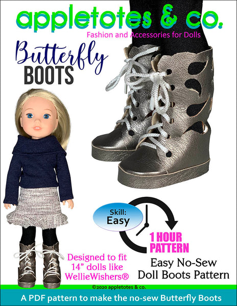 No-Sew Butterfly Boots 14 Inch Doll Sewing Pattern
