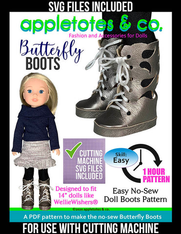 No-Sew Butterfly Boots 14 Inch Doll Pattern with SVG Files Included