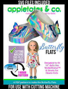 Butterfly Flats 14 Inch Doll Sewing Pattern - SVG Files Included