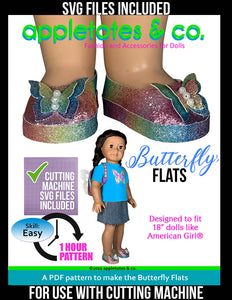 Butterfly Flats 18 Inch Doll Sewing Pattern - SVG Files Included