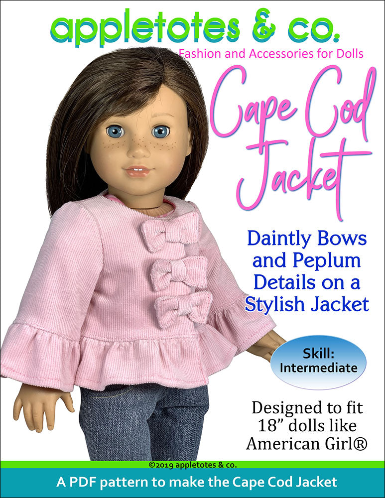 Cape Cod Jacket Sewing Pattern for 18 Inch Dolls