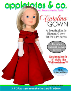 Carolina Gown 14 Inch Doll Sewing Pattern