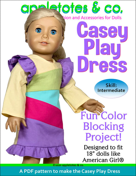 Casey Play Dress Sewing Pattern for 18 Inch Dolls