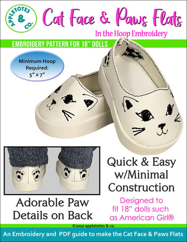 Cat Face and Paws Flats ITH Embroidery Pattern for 18 Inch Dolls