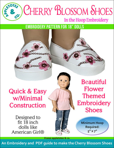 Cherry Blossom Shoes ITH Embroidery Patterns for 18 Inch Dolls