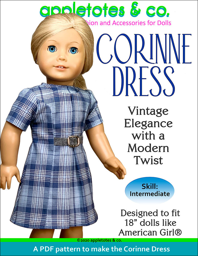 Corinne Dress Sewing Pattern for 18 Inch Dolls
