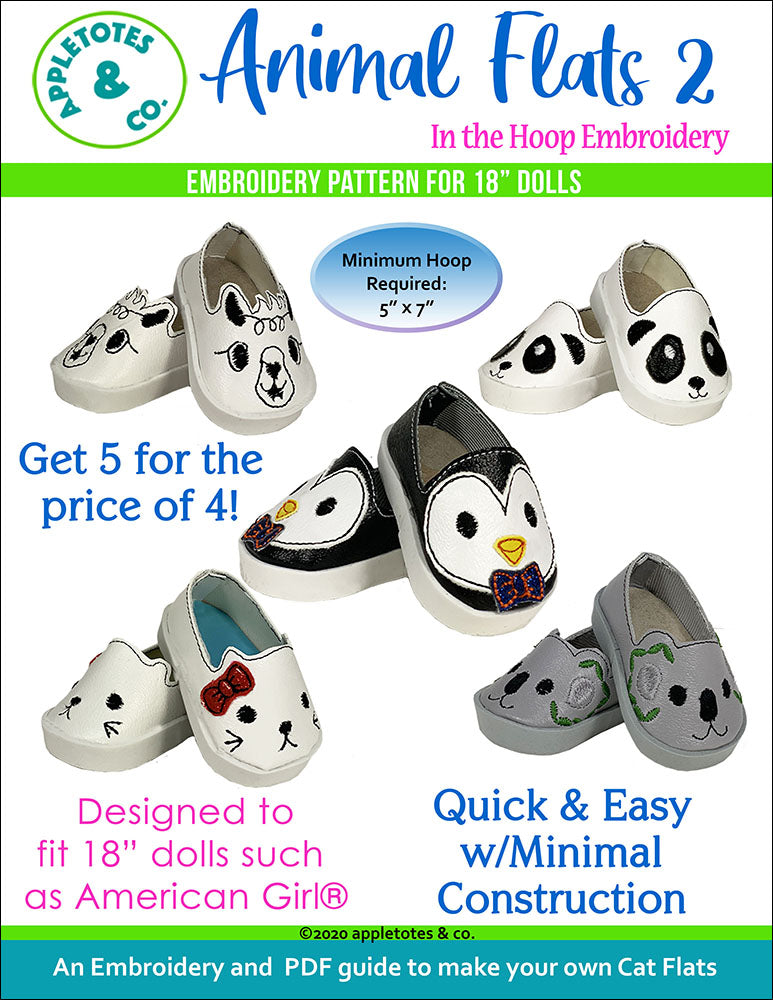 Animal Flats 2 Collection ITH Embroidery Patterns for 18