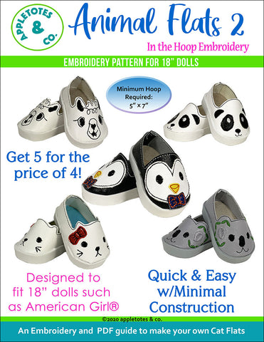 "Animal Flats 2 Collection ITH Embroidery Patterns for 18"" Dolls"