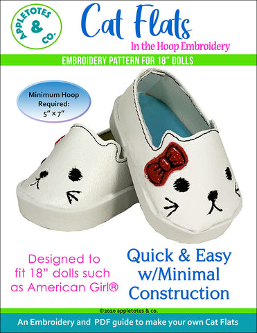 "Cat Flats ITH Embroidery Patterns for 18"" Dolls"
