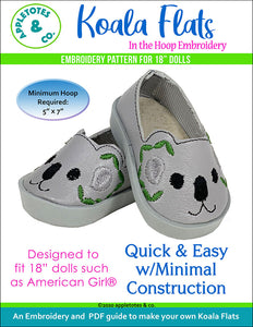 "Koala Flats ITH Embroidery Patterns for 18"" Dolls"