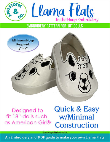 "Llama Flats ITH Embroidery Patterns for 18"" Dolls"