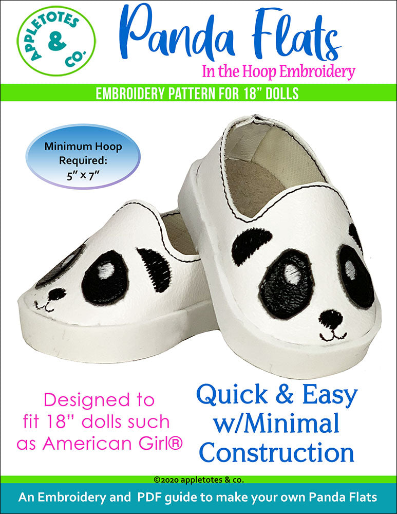 "Panda Flats ITH Embroidery Patterns for 18"" Dolls"