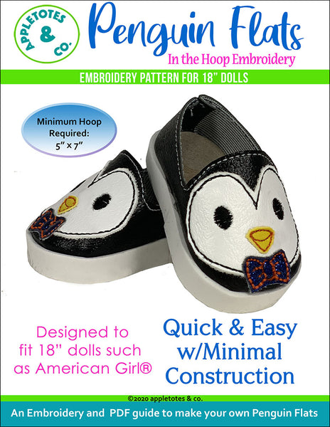 "Penguin Flats ITH Embroidery Patterns for 18"" Dolls"