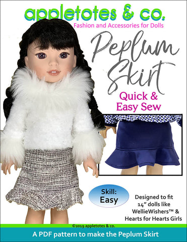 Peplum Skirt Sewing Pattern for 14 Inch Dolls