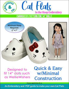Cat Flats ITH Embroidery Pattern for 14 Inch Dolls