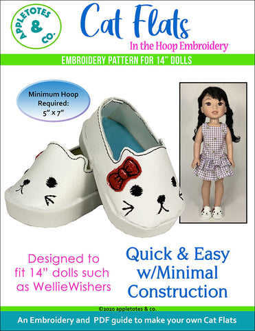 Cat Flats ITH Embroidery Patterns for 14 Inch Dolls