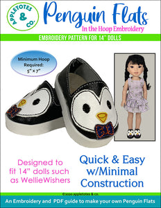 Penguin Flats ITH Embroidery Patterns for 14 Inch Dolls