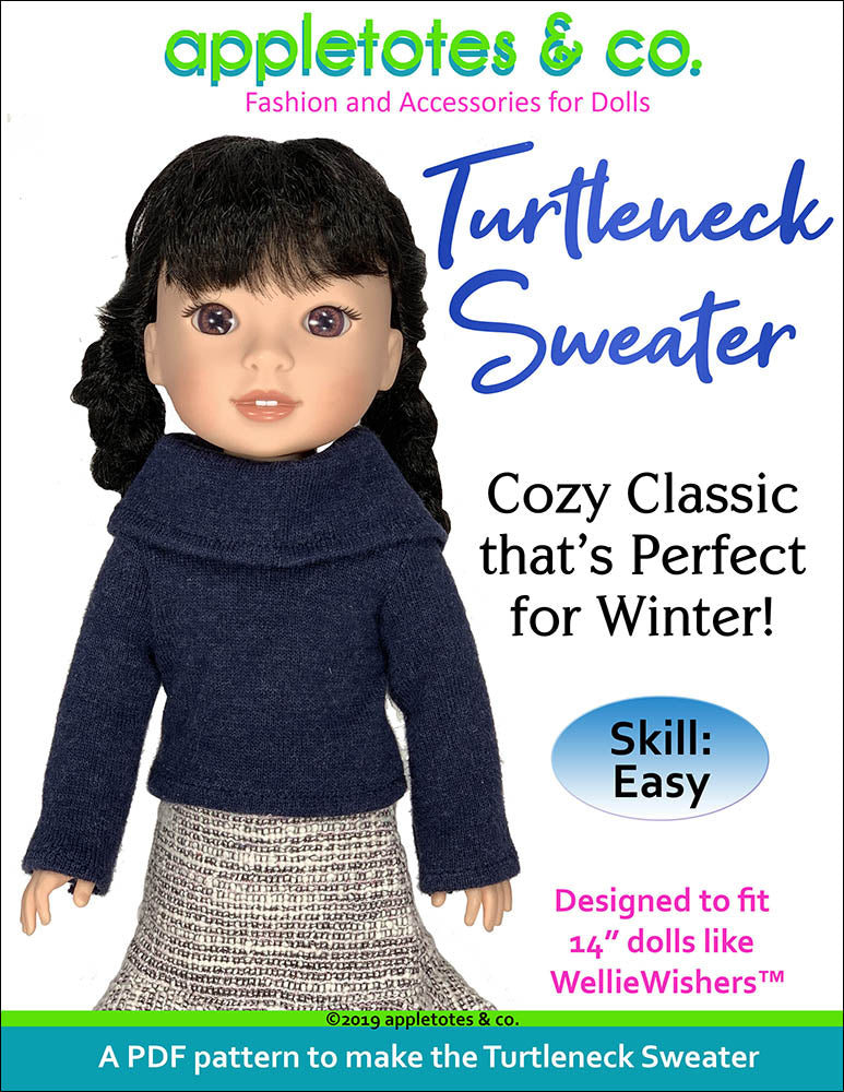 Turtleneck Sweater Sewing Pattern for 14 Inch Dolls