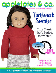 Turtleneck Sweater Sewing Pattern for 18 Inch Dolls