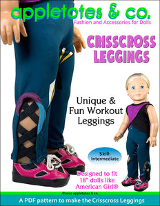 Crisscross Leggings Sewing Pattern for 18 Inch Dolls