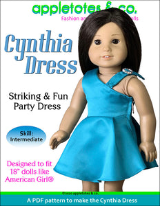 "Cynthia Dress Sewing Pattern for 18"" Dolls"