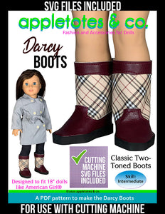 Darcy Boots 18 Inch Doll Sewing Pattern - SVG Files Included