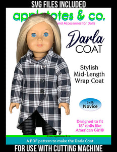 Darla Coat 18 Inch Doll Sewing Pattern - SVG Files Included