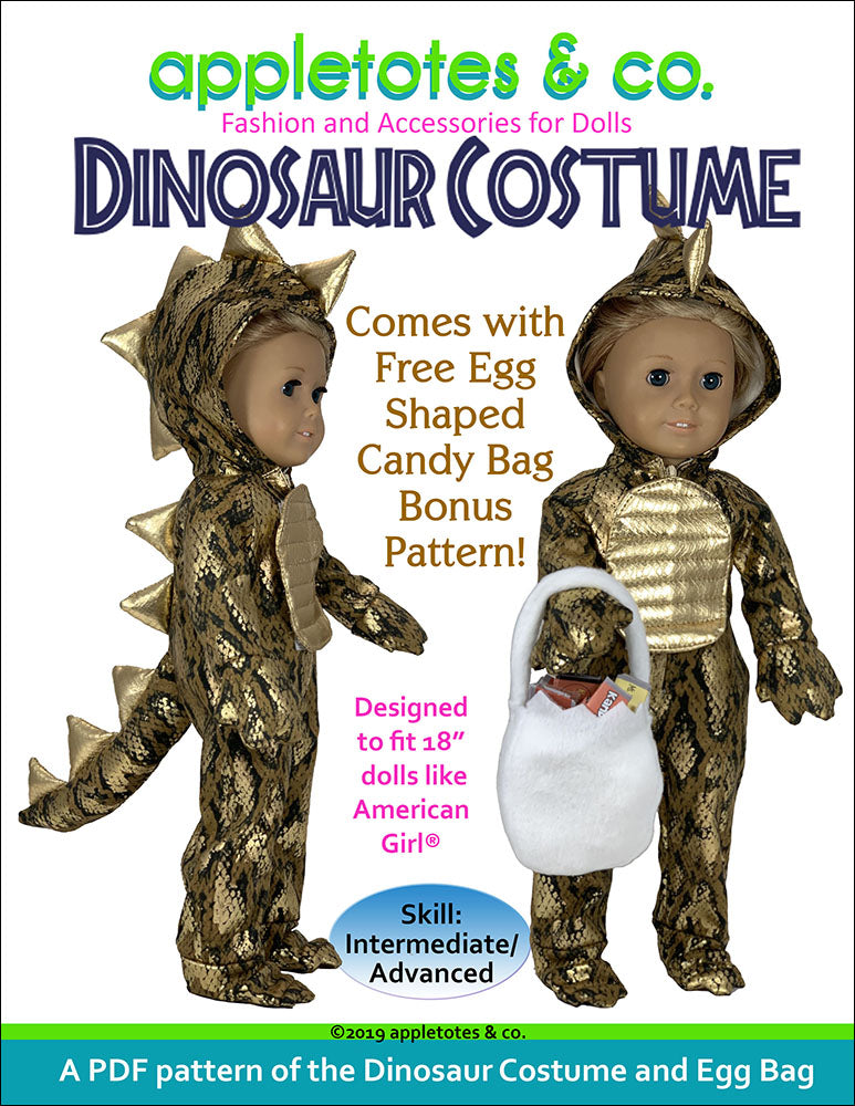 Dinosaur Costume Sewing Pattern for 18 Inch Dolls