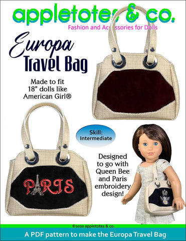 Europa Travel Bag Sewing Pattern for 18 Inch Dolls