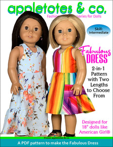 Fabulous Dress Sewing Pattern for 18 Inch Dolls