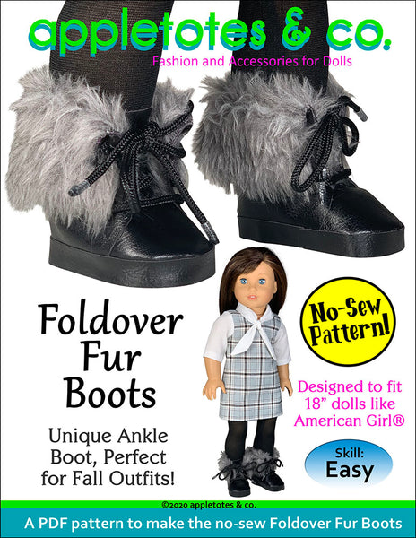 No-Sew Foldover Fur Boots 18 Inch Doll Sewing Pattern