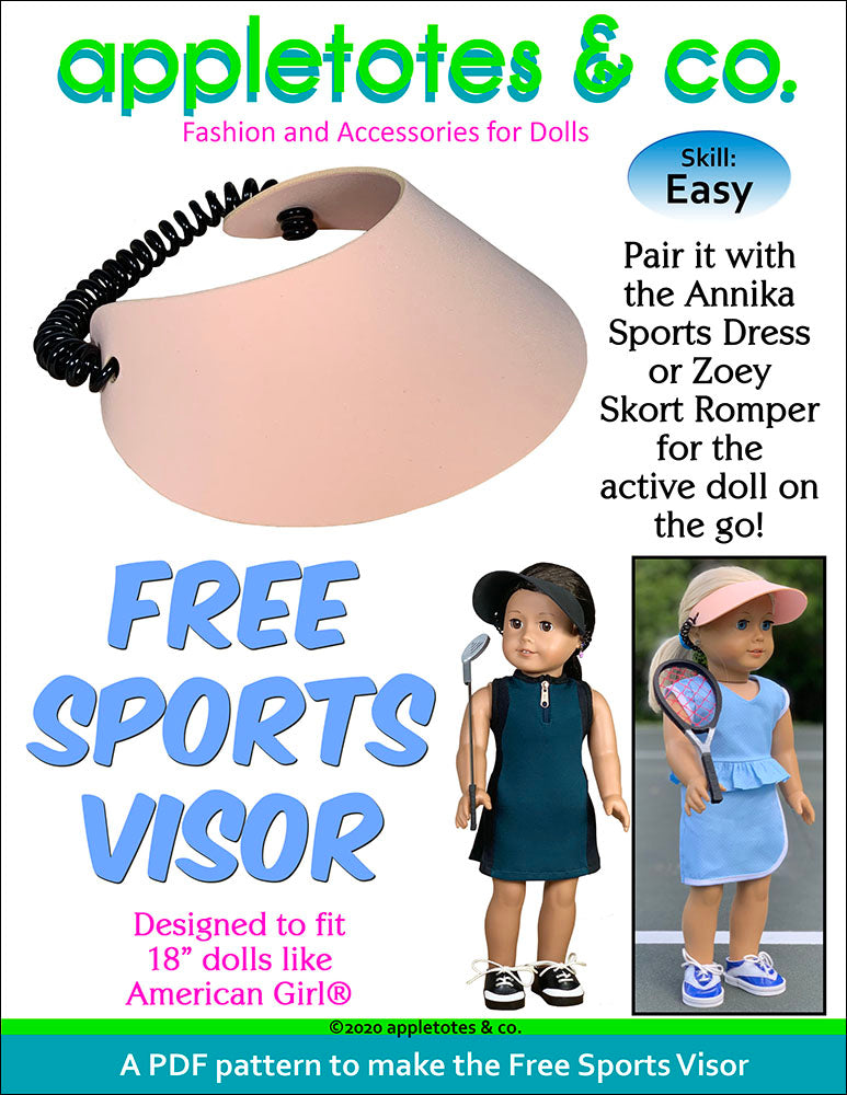 Free No-Sew Sports Visor Pattern for 18 Inch Dolls