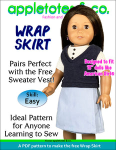 Free Wrap Skirt Sewing Pattern for 18 Inch Dolls