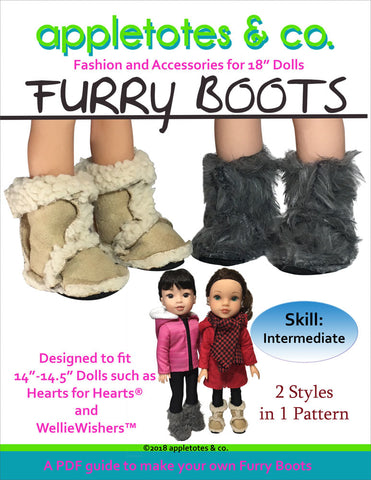 "Furry Boots Sewing Pattern for 14.5"" Dolls"