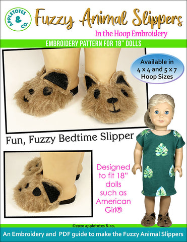 Fuzzy Animal Slippers ITH Embroidery Pattern for 18 Inch Dolls