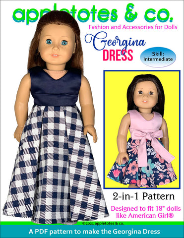 Georgina Dress 18 Inch Doll Sewing Pattern